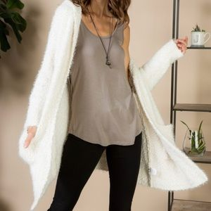 Sweaters - Creme Knit Cardigan Hooded
